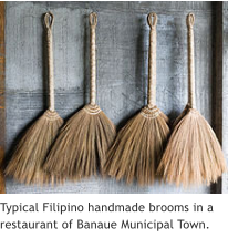 Typical Filipino handmade brooms in a restaurant of Banaue Municipal Town.